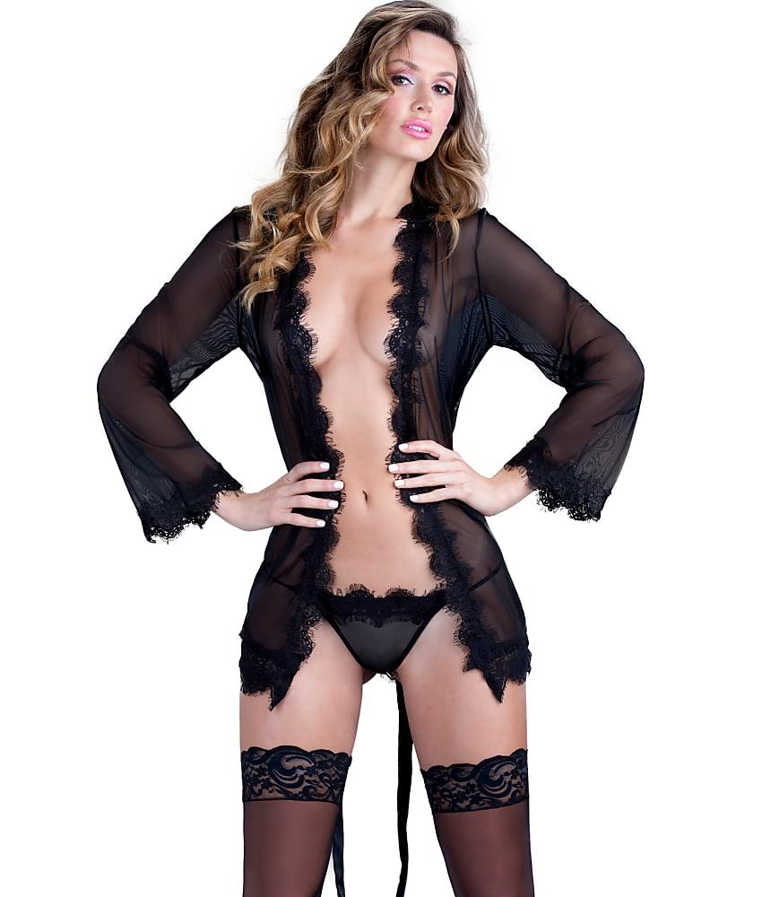 edf5ee72f7 Oh La La Cheri Eyelash Lace Robe G-string Set Black L xl P1
