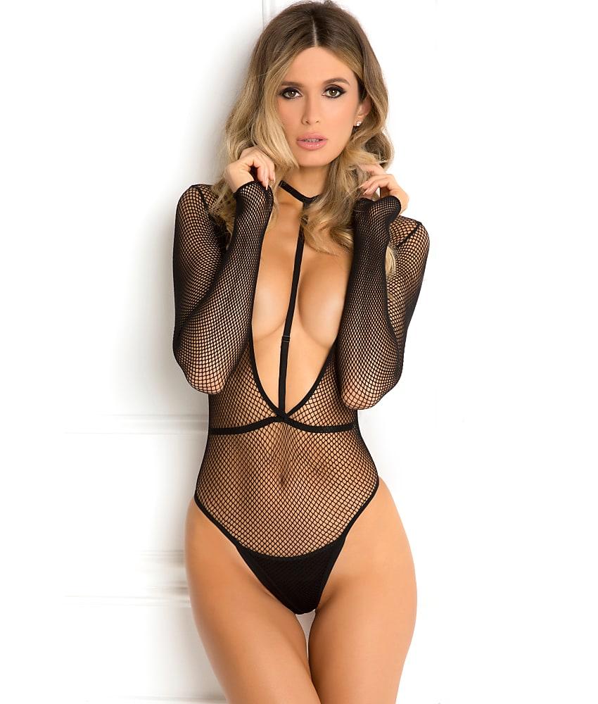 Rene Rofe Plunge Bodysuit Harness Set Lingerie - Women's