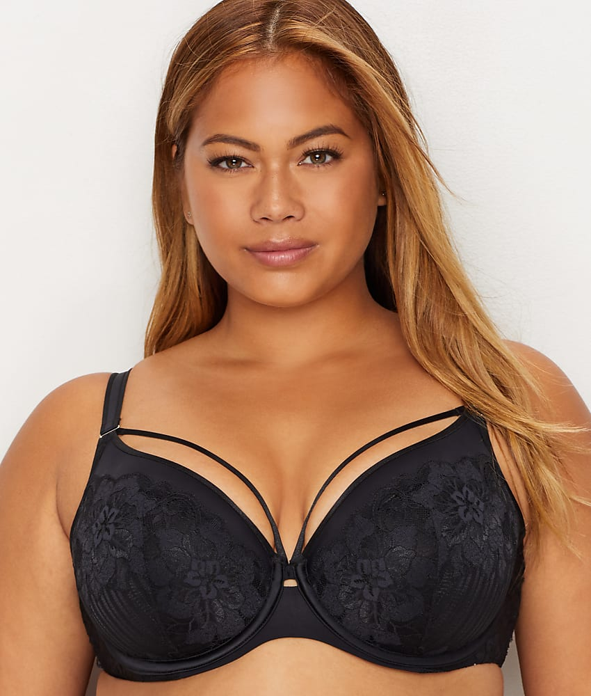 fe9a8ea17dd Curvy Couture Tulip Lace Convertible Push-Up Cage Bra - Women s