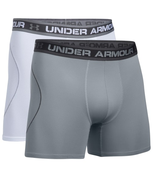 "Under Armour M White / Steel UA Iso-Chill Mesh 6"" Boxerjock Boxer Brief 2-Pack 93W9630"