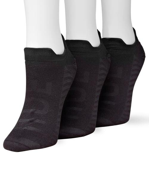 HUE One Size Black Microfiber Air Sleek No Show Socks 3-Pack 93VJP10
