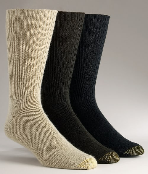 Gold Toe One Size Khaki / Brown/Black Fluffies Crew Socks 3-Pack Extended Sizes 9341410