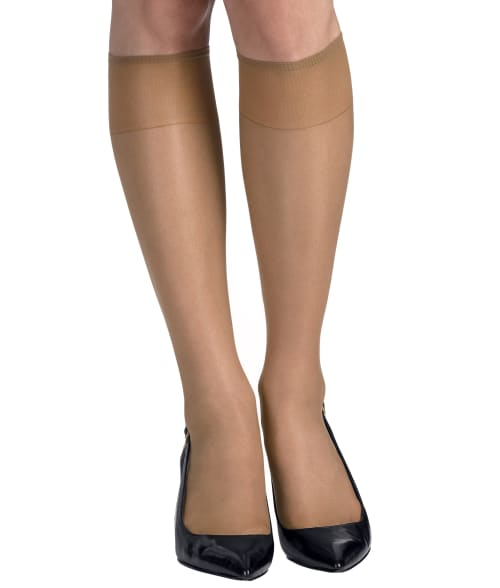 Hanes SILK REFLECTIONS SHEER TOE KNEE HIGHS 2-PACK