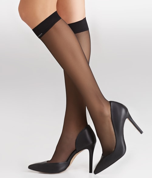Calvin Klein Hosiery One Size Black Sheer Essentials Matte Knee Highs with Comfort Top 93EQA10