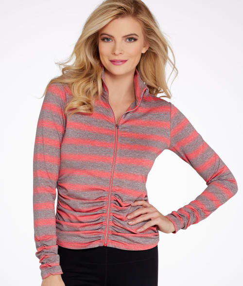 Calvin Klein XS Coral / Grey Performance Striped Ruched Jacket 93PQM10