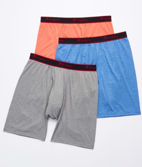 Champion XL Black/Gargoyle/Heat Active Performance Long Leg Boxer Brief 3-Pack 93SKN50