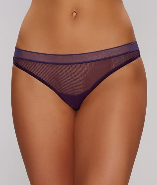 DKNY M Purple Fishnet Signature Lace Thong 93X3Y30
