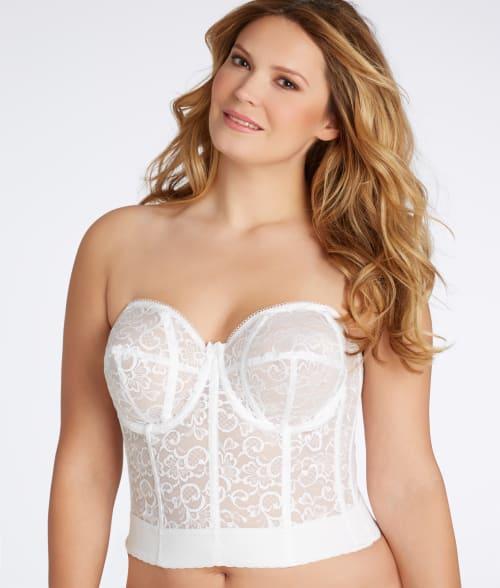 Goddess 50B White Lace Longline Bra