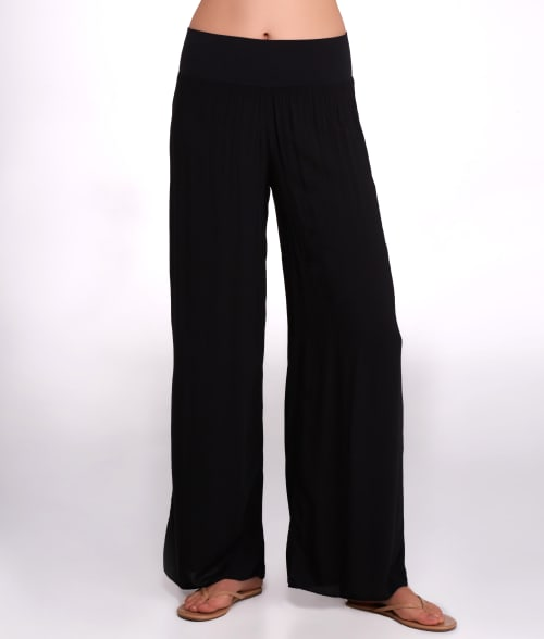 Hard Tail L Black Flowy Palazzo Woven Yoga Pants 93LHU40