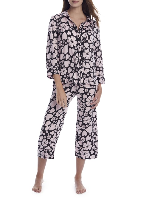 Kate Spade CLOVER HEARTS CROPPED WOVEN PAJAMA SET