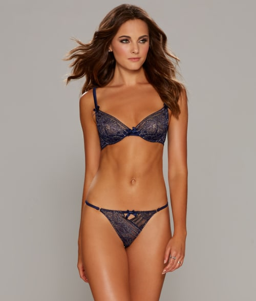 Image of L'Agent by Agent Provocateur 34E Navy / Gold Siena Plunge Bra
