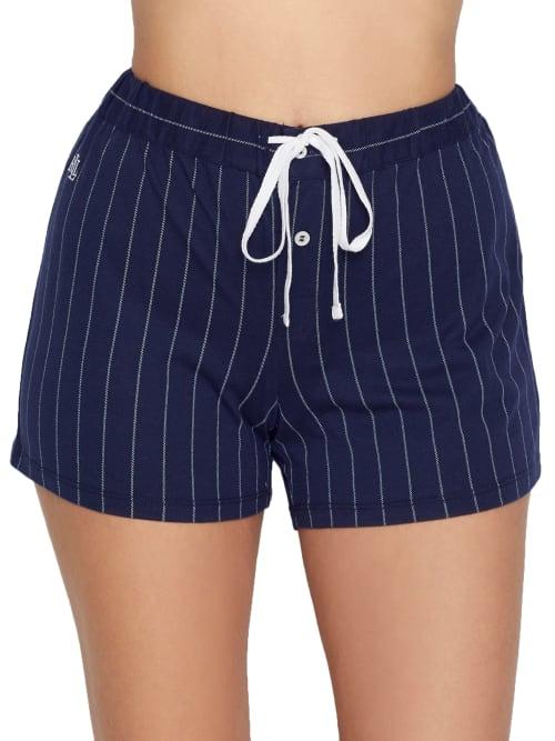 Lauren Ralph Lauren Classic Stripe Jersey Knit Boxer Shorts In Navy Stripe