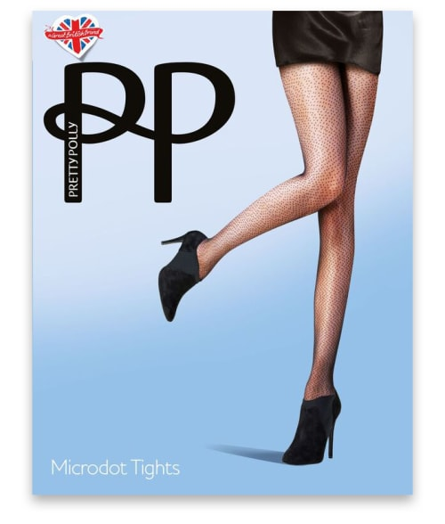 Pretty Polly One Size Nude / Black Microdot Tights 9416S10