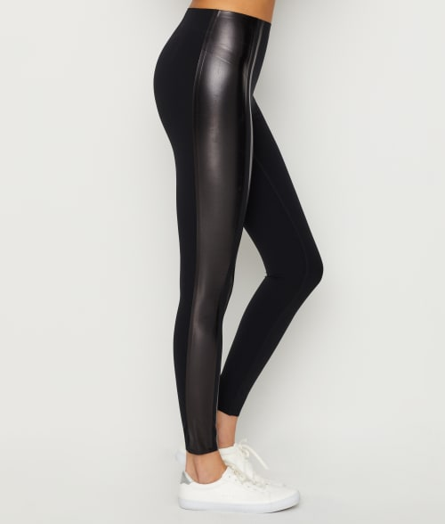SPANX XS Very Black Gloss Side Stripe Leggings | Bare Necessities