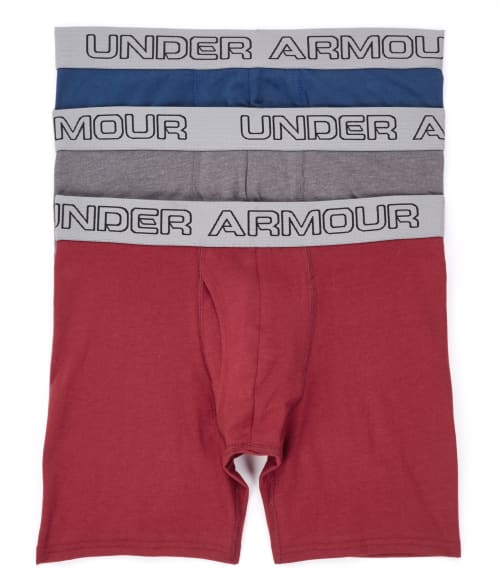 "Under Armour XXL White / Red / Black Charged Cotton 6"" Boxerjock Boxer Brief 3-Pack 93OTM60"