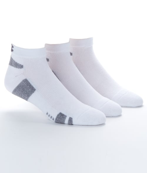 Under Armour One Size White Men's Heatgear Low Cut Socks 3-Pack 93JZI40