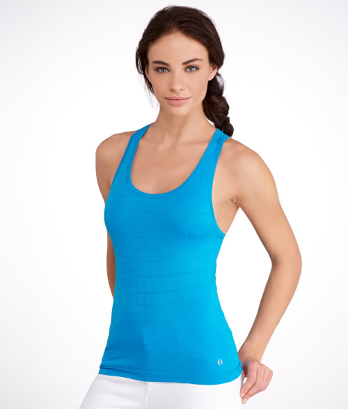Yummie by Heather Thomson M/L Methyl Blue Daria Seamless Jacquard Yoga Tank 93F7390