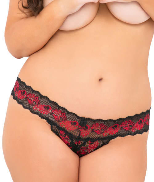 Plus Size Crotchless Thong