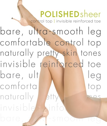 HUE: Polished Sheer Control Top Pantyhose
