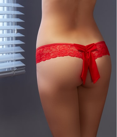 Shirley of Hollywood: Crotchless Lace Thong