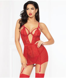 Seven 'til Midnight Love Affair Chemise & Garter Set