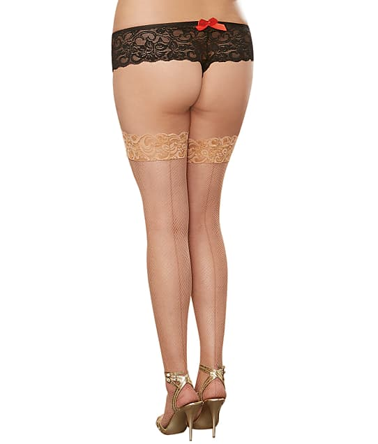 Dreamgirl Plus Size Back Seam Fishnet Stay-Up Thigh Highs  in Nude 0001X