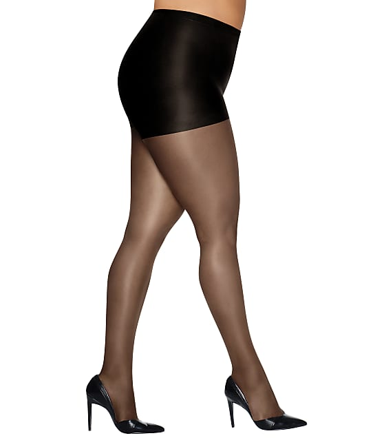 Hanes Plus Size Silk Reflections Control Top Pantyhose in Jet 00P16