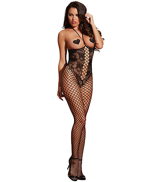Dreamgirl Open Cup Crotchless Fishnet Bodystocking in Black 0268