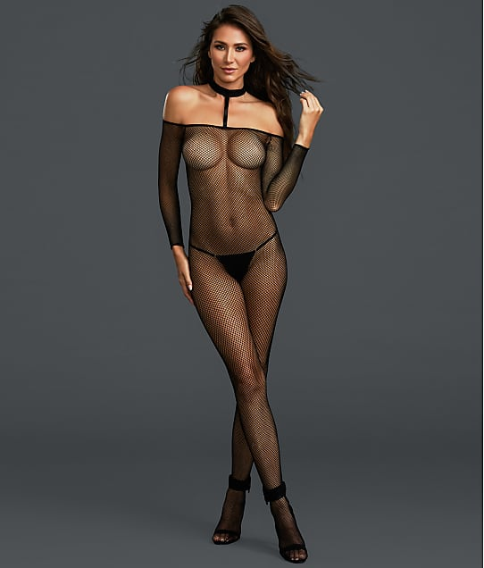 Dreamgirl Choker Fishnet Crotchless Bodystocking in Black(Front Views) 0319