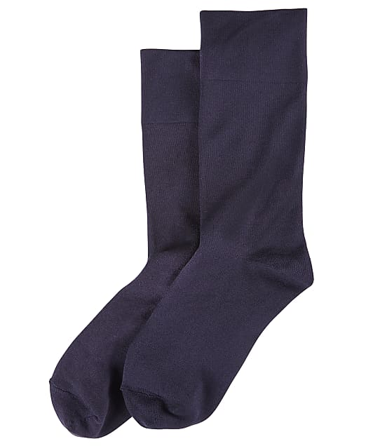HUE Ultra-Smooth Crew Socks in Navy(Front Views) 10084