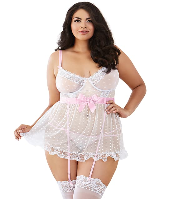 Dreamgirl: Plus Size Mesh Heart Apron Babydoll Set