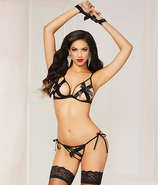 Seven 'til Midnight: Satin Bow Crotchless Bra & Panty Set