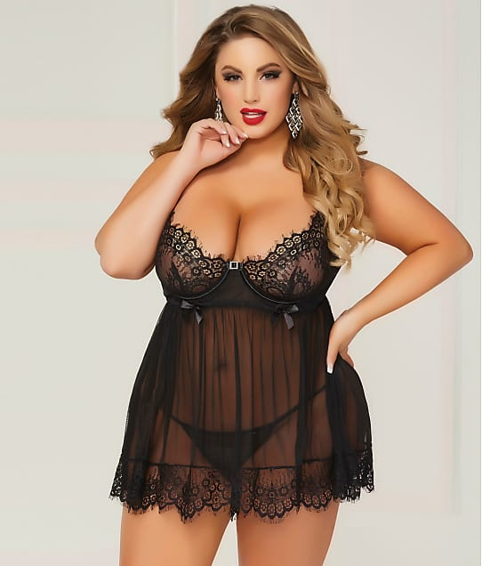 Seven 'til Midnight Plus Size Bed Of Roses Babydoll Set ...