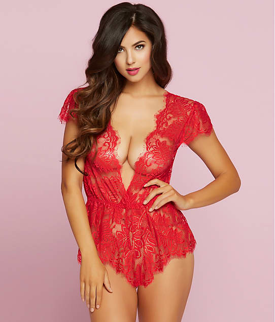 Seven 'til Midnight Temptation Lace Wire-Free Romper in Red 10718