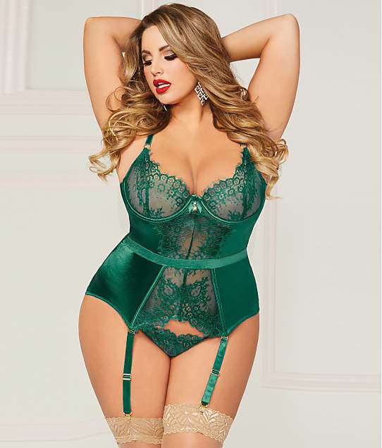 Seven 'til Midnight: Plus Size Lace & Satin Garter Bustier Set