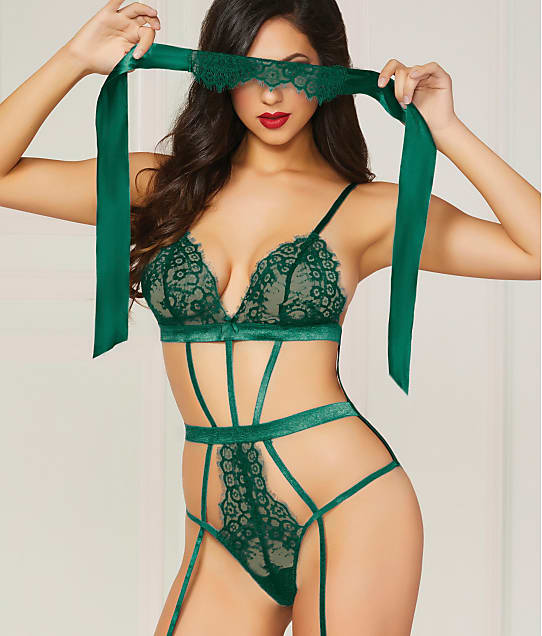 Seven 'til Midnight: Gorgeously Green Crotchless Teddy Set