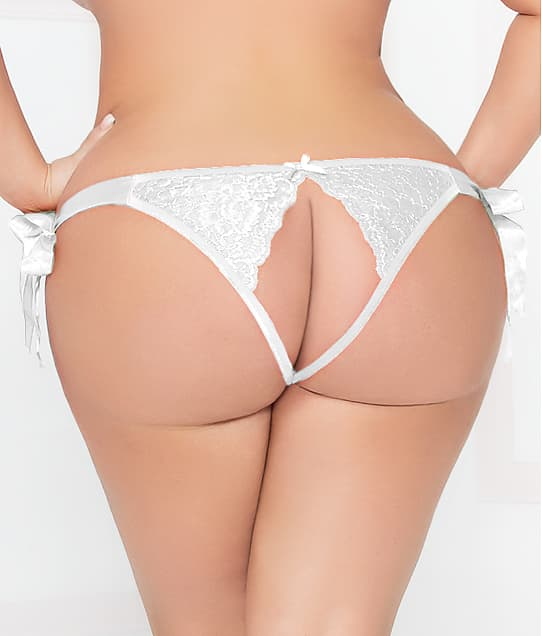 Seven 'til Midnight Plus Size Lace Open-Back Bikini in White 10937X