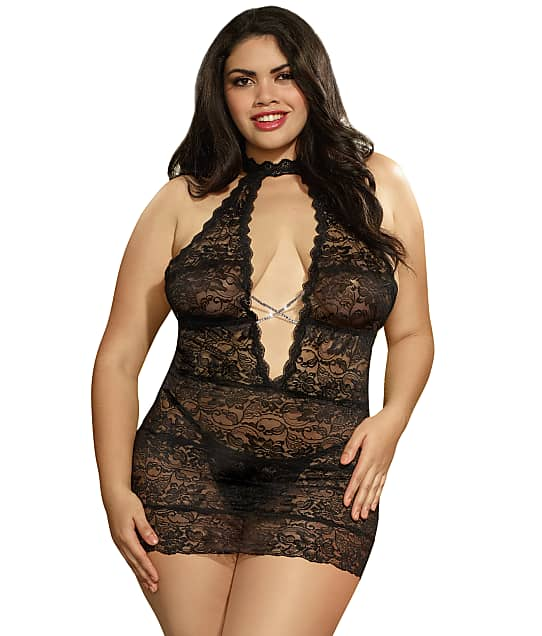 Dreamgirl: Plus Size High Neck Chemise