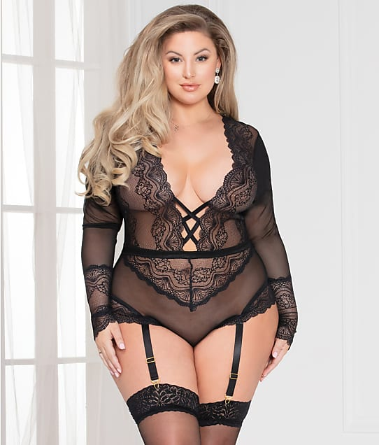 Seven 'til Midnight: Plus Size Lace Garter Teddy