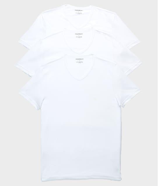 Emporio Armani Pure Cotton V-Neck T-Shirt 3-Pack in White 110856-CC722