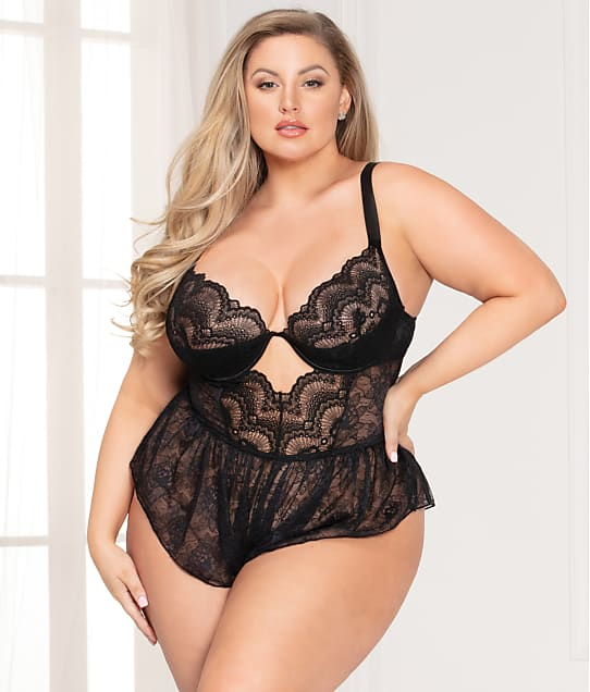 Seven 'til Midnight Plus Size Radiance Floral Lace Romper in Black(Front Views) 11096X