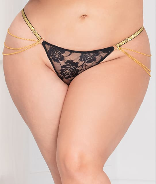 Seven 'til Midnight Plus Size Lace Chain G-String in Black 11136XP