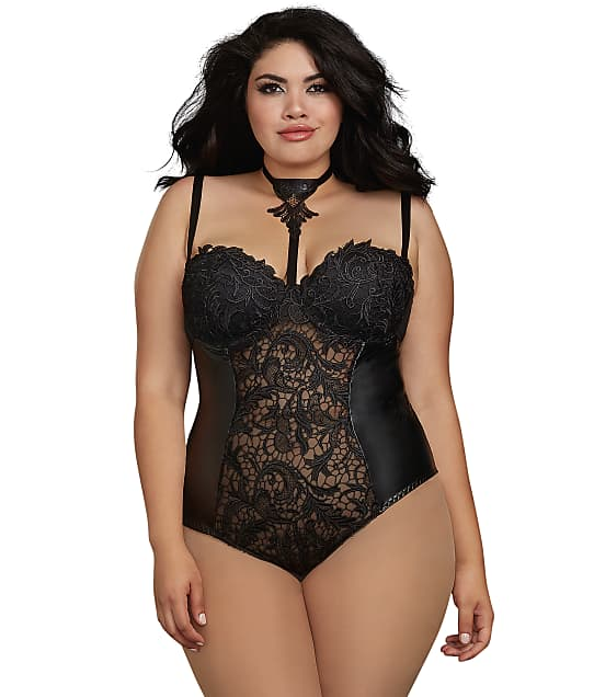 Dreamgirl: Plus Size Venice Lace Choker Teddy