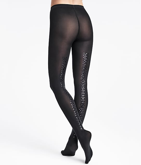Wolford Snake Shimmer Back Seam Tights in Black(Front Views) 14768