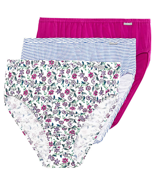 Jockey Plus Size Elance French Cut Brief 3-Pack in Meadow / Fuchsia(Front Views) 1485