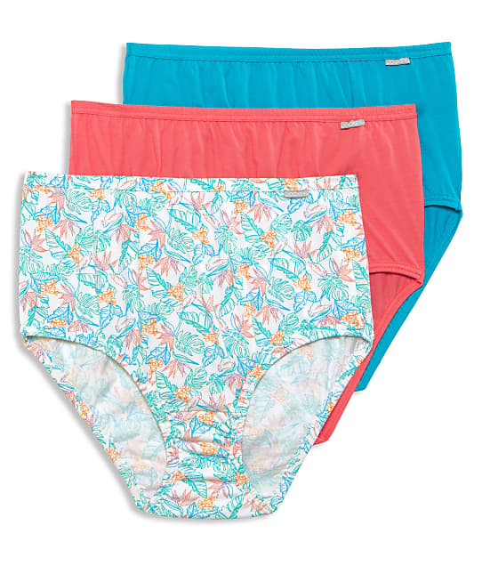 Jockey Plus Size Elance Brief 3-Pack in Caribbean Palm(Front Views) 1486