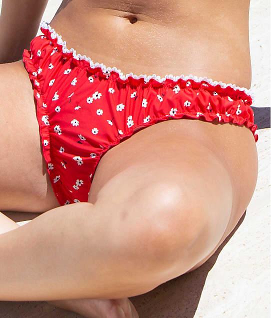Pour Moi Sunset Beach Frill Bikini Bottom in Red / White 17103