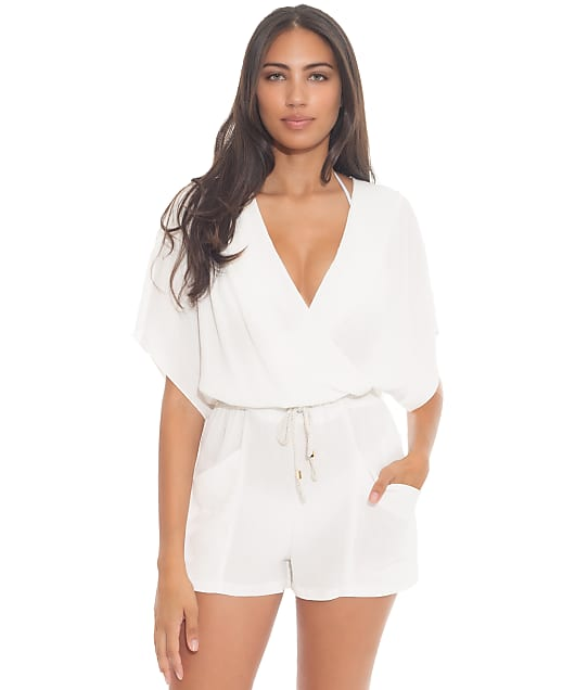 Becca With A Twist Woven Romper Cover-Up in White(Front Views) 1849171