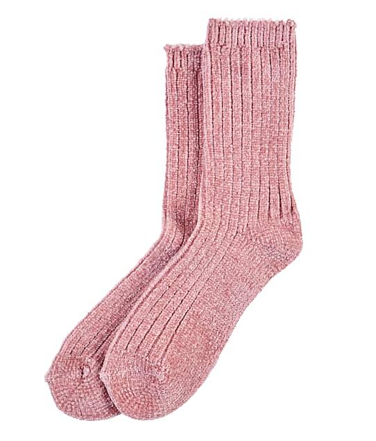 HUE Chenille Crew Socks in Misty Rose 19561