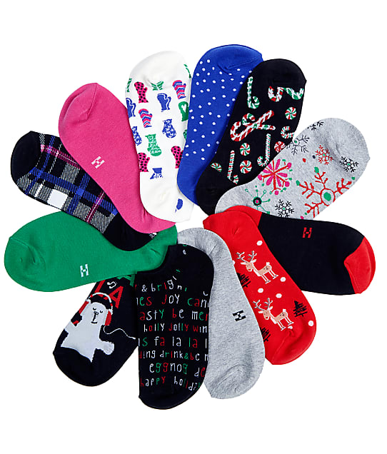 HUE 12 Days Of Christmas Socks 12-Pack in Assorted 20045